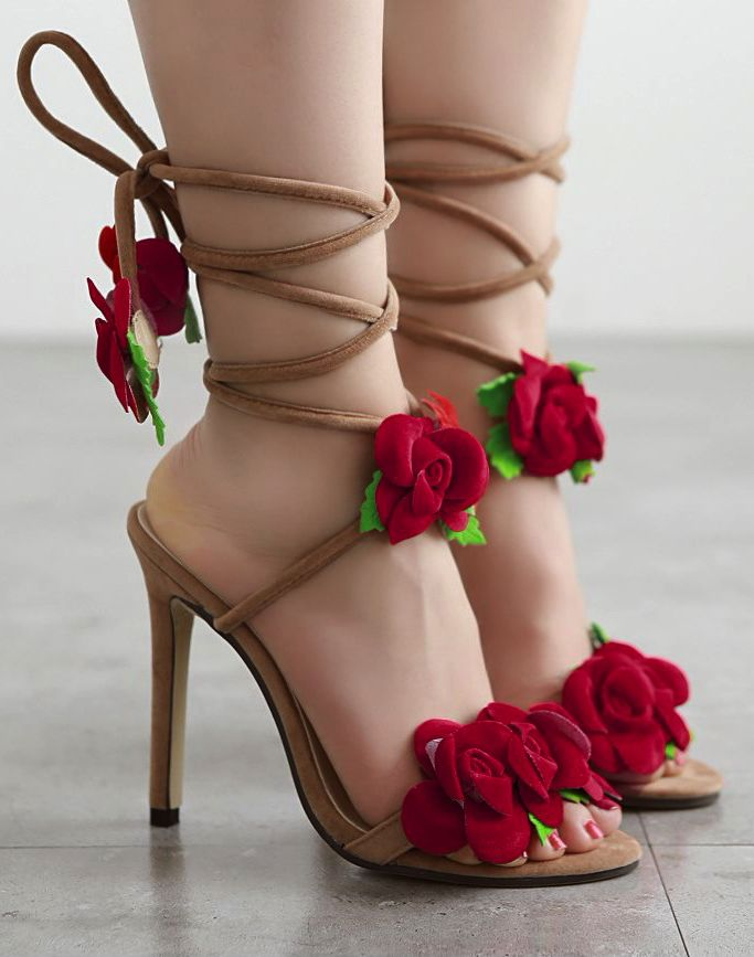 db2b50265099e Red Roses High Heels Sandals With Lace Up Straps  shoes  shoesaddict   shoeslover  highheels  heels  partyshoes  stilettoheels  stiletto