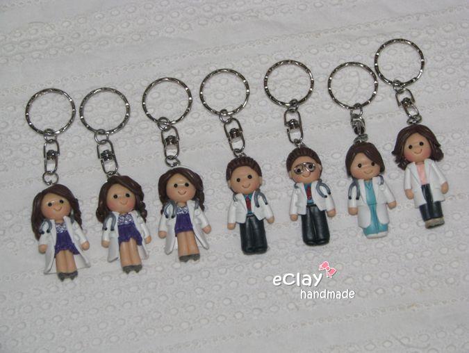 chibi, doctors, polymer clay, keychain
