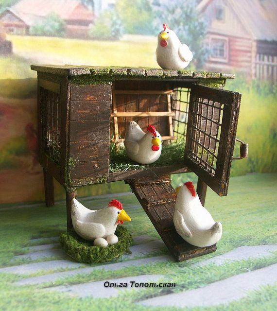Hen house with hens. Сhicken coop. Handcrafted от OlgaDollhouseArt