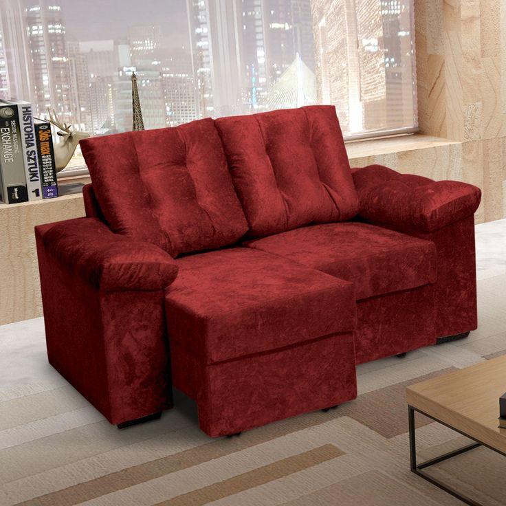 persiana rolô em sala com sofá vermelho