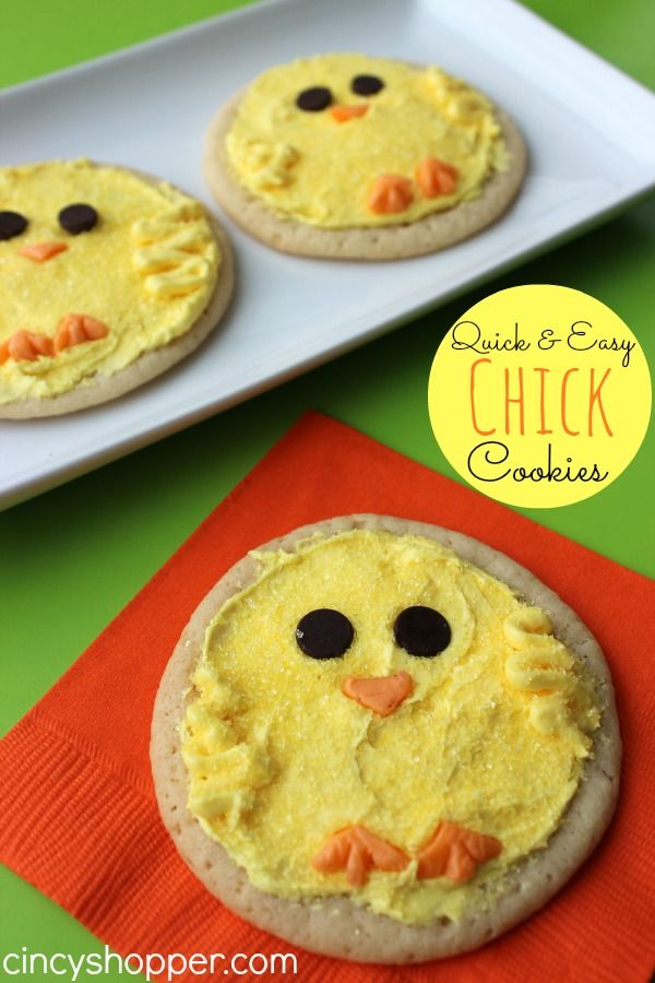 Quick and Easy Easter Chick Sugar Cookies Recipe.