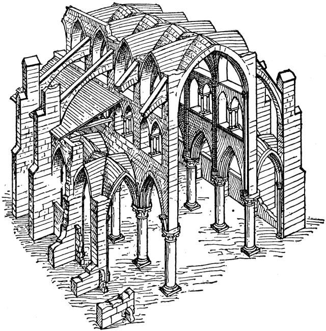 The Gothic Style - Building Characteristics: Diagram of a Medieval Cathedral: Gothic Engineering