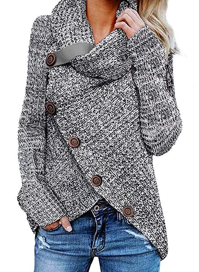 76d830299d Asvivid Women s Chunky Turtle Cowl Neck Asymmetric Hem Wrap Sweater Coat  winter outfits casual