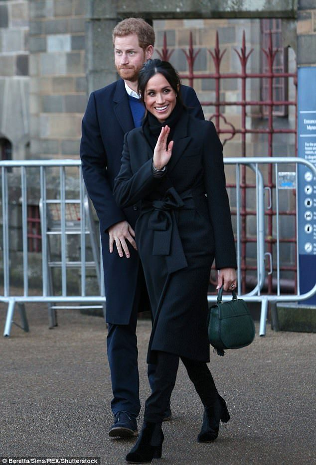 Meghan was seen wearing a pair of black jeans during her engagement in Cardiff on Thursday...