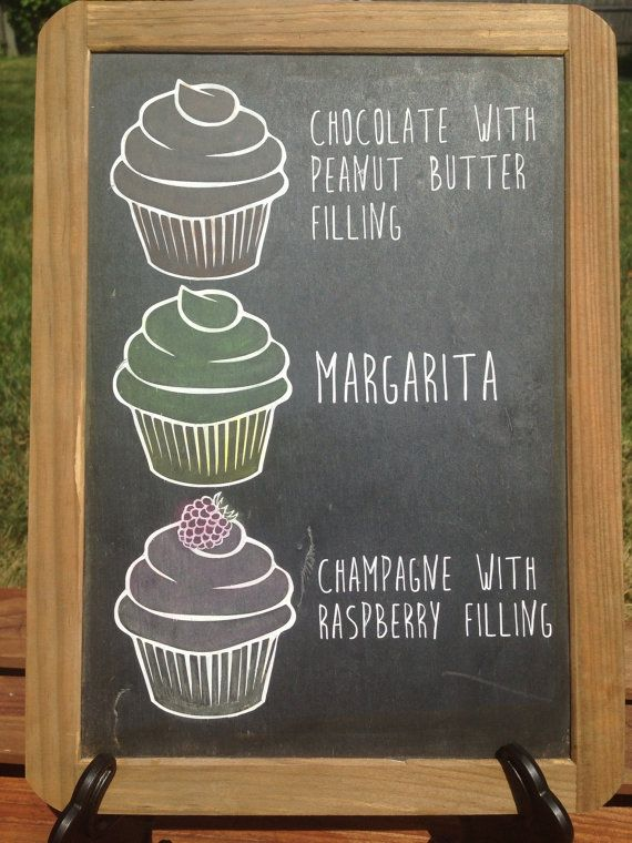 Custom Cupcake Flavor Chalkboard Tabletop Sign
