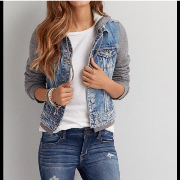 NWT AE Hooded Denim Jacket The perfect layer over your favorite dresses and tanks. 100% Cotton • Soft cotton denim & fleece • Classic denim vest styling • Full button front • Hip pockets • Drawstring ties at hood • Ribbed cuffs & hem New With Tags. American Eagle Outfitters Jackets & Coats Jean Jackets