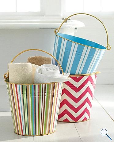 Girls bathroom storage idea - funky paint cans
