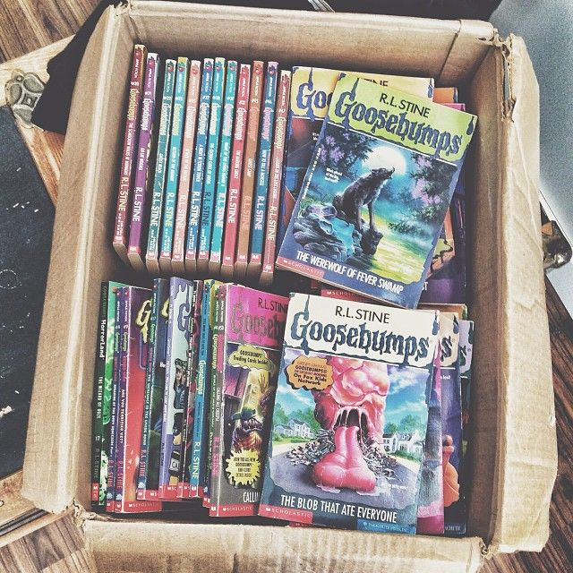 Goosebumps book collection - - I still remember the way those books smelled. Maybe I'm crazy - maybe all new paperbacks smell like that. But when I see this I'm instantly transported back to grade school, impatiently waiting for the teacher to unpack & hand out the Scholastic book order, so that I can huff my new Goosebumps book. Mmmmmm!