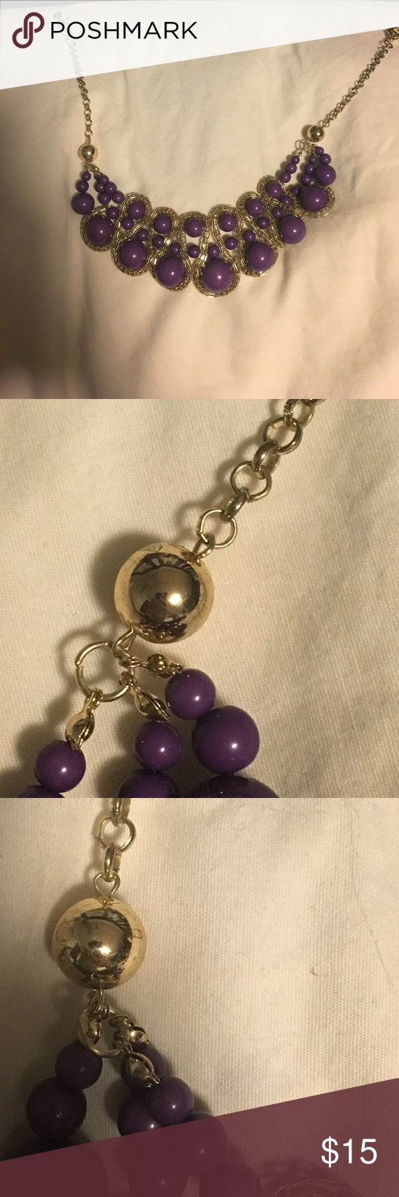Amrita Singh Purple Statement Necklace Purple and gold. Some tarnishing on gold part of necklace(see pictures). The statement part of the necklace is in excellent condition. Worn lightly with love. Great necklace. Amrita Singh Jewelry Necklaces
