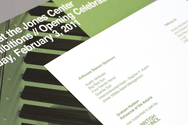 Exhibition opening invitation for Arthouse at the Jones CenterExhibitions Open, Open Invitations