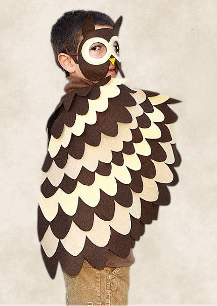 Brown and Beige owl costume for kids. Bird costume for Halloween or Carnival for toddlers.