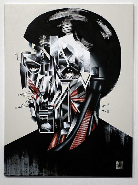 """Anno Domini presents Bohdan Burenko """"HEADS""""    Bohdan Burenko  HEAD No. 1  acrylic, canvas, 46""""x 36"""". 2016     Please inquire for availability & price: cherri@galleryAD.com"""