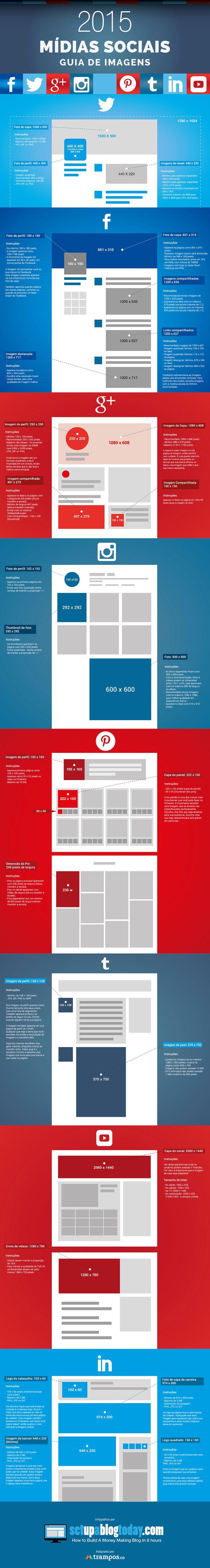 Infográfico: Guia dos tamanhos de imagens nas mídias sociais 2015