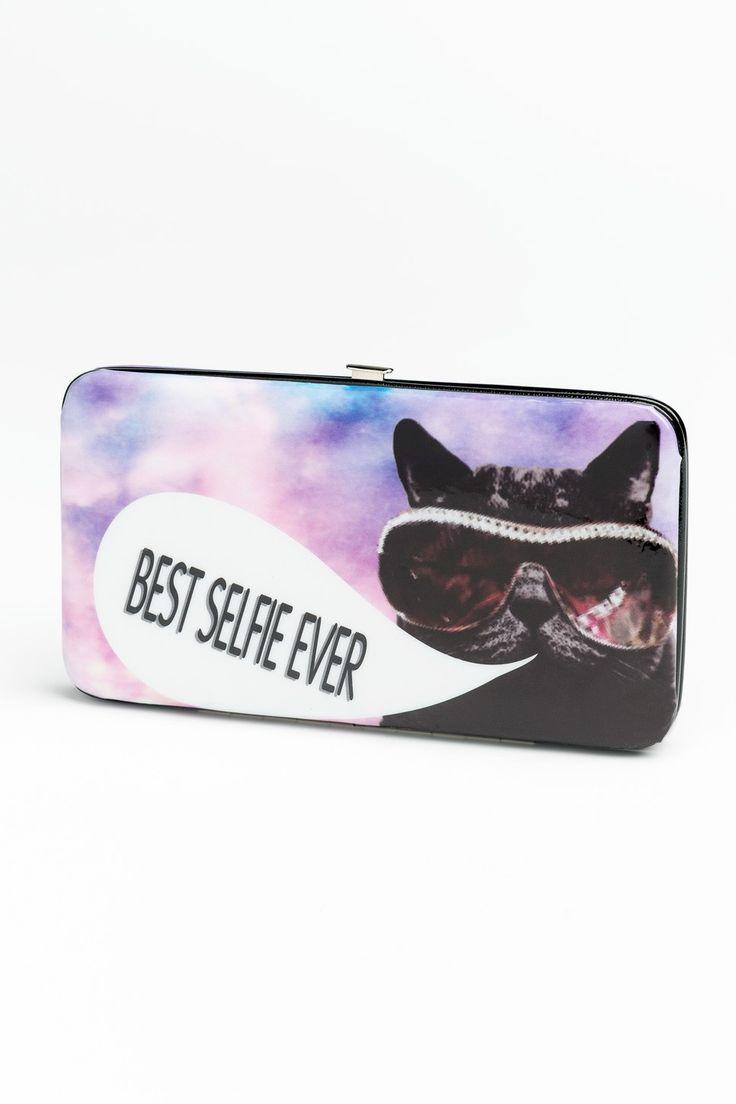 Best Selfie Ever cat vinyl wallet ($9.50) #wallet #cat