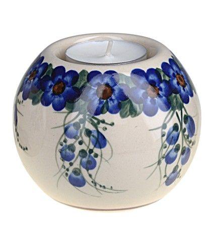 Classic Boleslawiec, Polish Pottery, Hand Painted Ceramic Ball, Tea Lite Candle Holder 502-U-001
