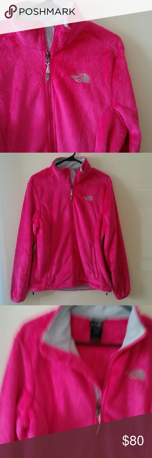 The North Face Fleece Jacket Hot pink fleece inside & out North Face jacket with gray lining - never worn The North Face Jackets & Coats