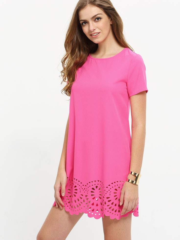 Shop Hot Pink Short Sleeve Hollow Shift Dress online. SheIn offers Hot Pink Short Sleeve Hollow Shift Dress & more to fit your fashionable needs.