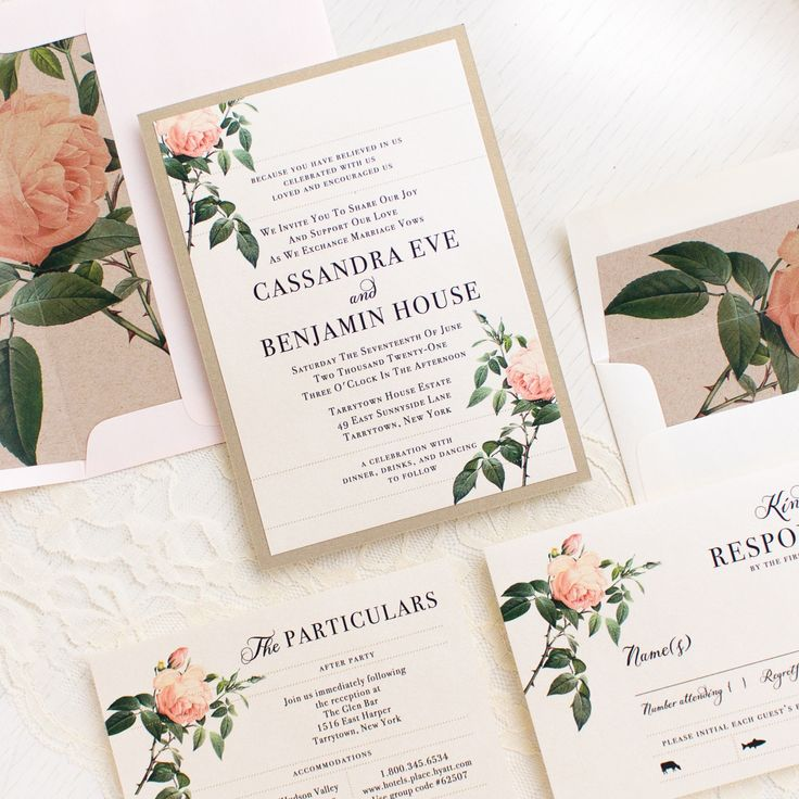 Ivory u0026 Blush Floral Customizable Wedding Invitations