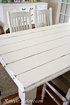 Faux Plank Farmhouse Table - Painted with White Chalk Paint.
