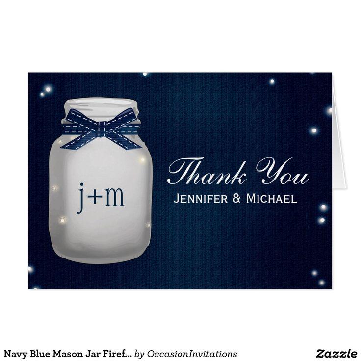 proper response time for wedding rsvp%0A Navy Blue Mason Jar Fireflies Wedding Thank You Card