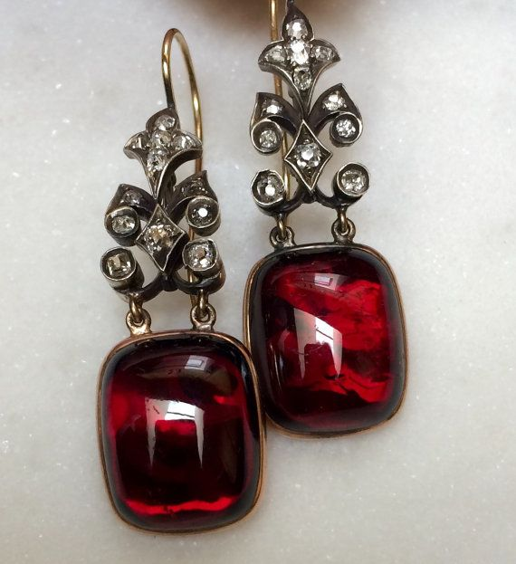 Victorian garnet and diamond earrings by APocketOfRocks on Etsy