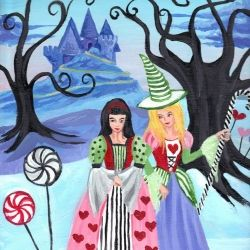 Revisiting favorite themes for Valentines Day, I am painting witches in dresses I would wear, inspired by snow and candy.