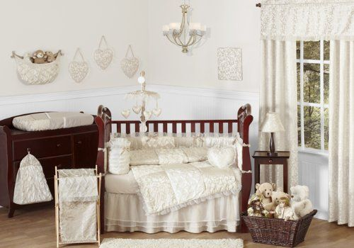 AmazonSmile : Champagne and Ivory Victoria Baby Bedding 9pc Girl Crib Set : Victoria Baby Beddign : Baby