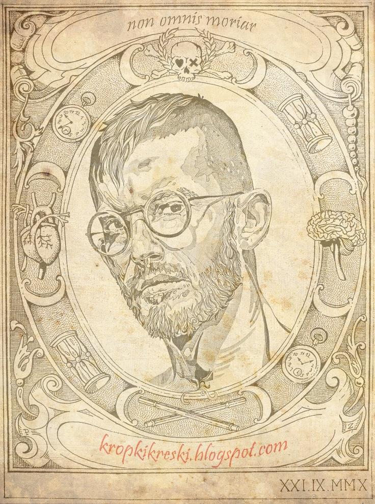 Autoportret, cienkopisy + komputer = grafika / Self - portrait, felt pens + computer = graphic, flyer
