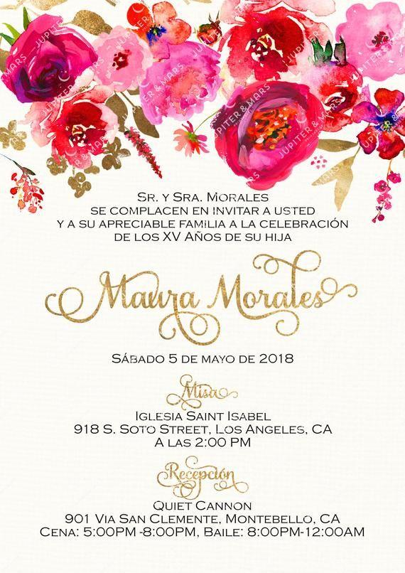 Red Pink Gold Quinceañera Invitation Quinceanera Etsy Invitaciones De Boda Tarjetas De Boda Invitaciones De Fiesta