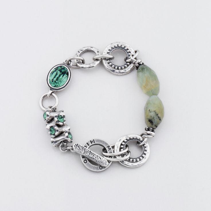 #miglio B1263 Jade semi-precious stone and erinite Swarovski crystal designer bracelet