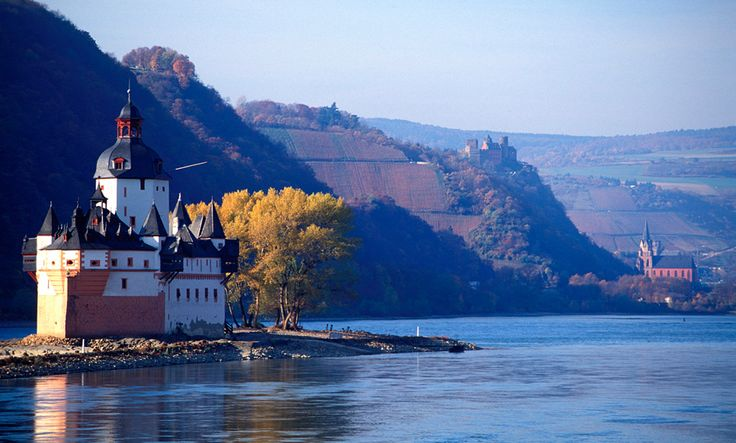 Rhine Valley, Germany - breathtaking landscapes with over 60 medieval castles. This is Pfalzgrafenstein Castle a toll castle on the Rhine River.