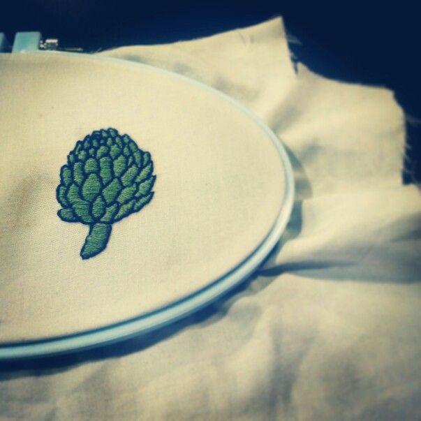 Hand Embroidered artichoke