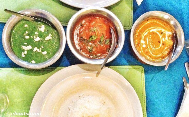 """«We love Indian cuisine  Эту фотографию мы назвали """"Индийский светофор"""" Слева направо: сааг панир (сыр в соусе из шпината), байгайян алу (картофель в…»"""
