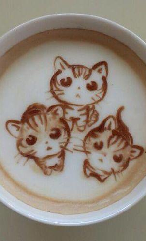Kitty latte art. Three little kittens lost their mittens