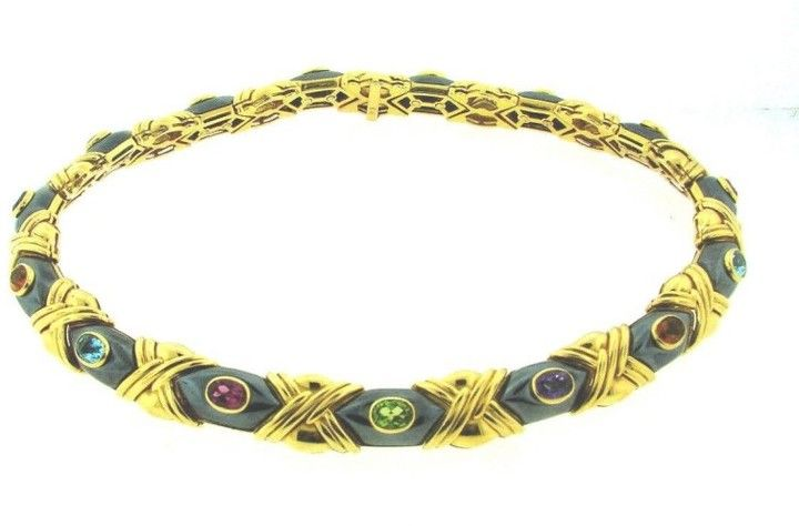 Vacheron Constantin Vacheron & Constantin 18K 750 Gold Hematite Amethyst Topaz Peridot Necklace