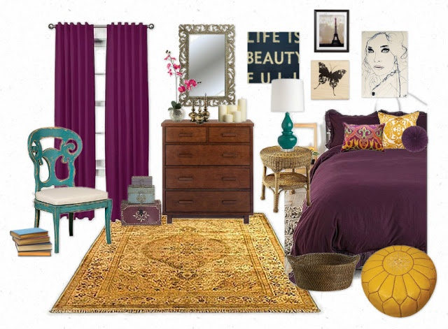 Embrace the royal, luxurious dark tones of the purple. The gold adds a feeling of opulence. For me, this purple + gold pairing is just asking to be decorating with an eclectic, old world, Moroccan feel. A big, gold oriental rug brings color to the floor. Dress up deep purple bedding with printed pillows that include gold tones and some other colors. Hang an eclectic assortment of art on the walls. And throw in another color, too, like turquoise. The vibe is romantic, vintage, and dramatic.