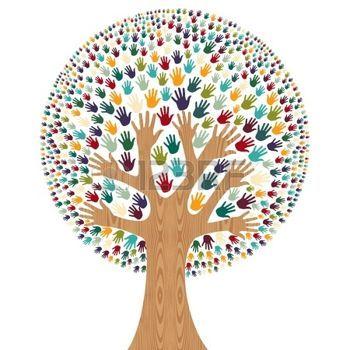 Izolované rozmanitost strom ruce ilustrace na přání. soubor vrstvené pro snadnou manipulaci a vlastní zbarvení. photo