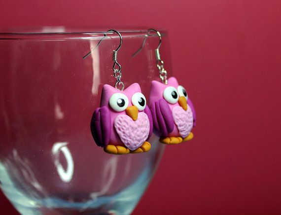 Pink Polymer Clay Owl Earrings by TheNomiFaerie on Etsy