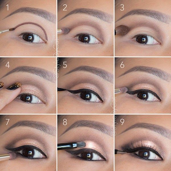 Soft, rose gold, smokey eye tutorial. Good for hooded eyelids or monolids on Asian eyes. Products and instructions in the link. Wedding makeup, special occasion, evening makeup. by hollie