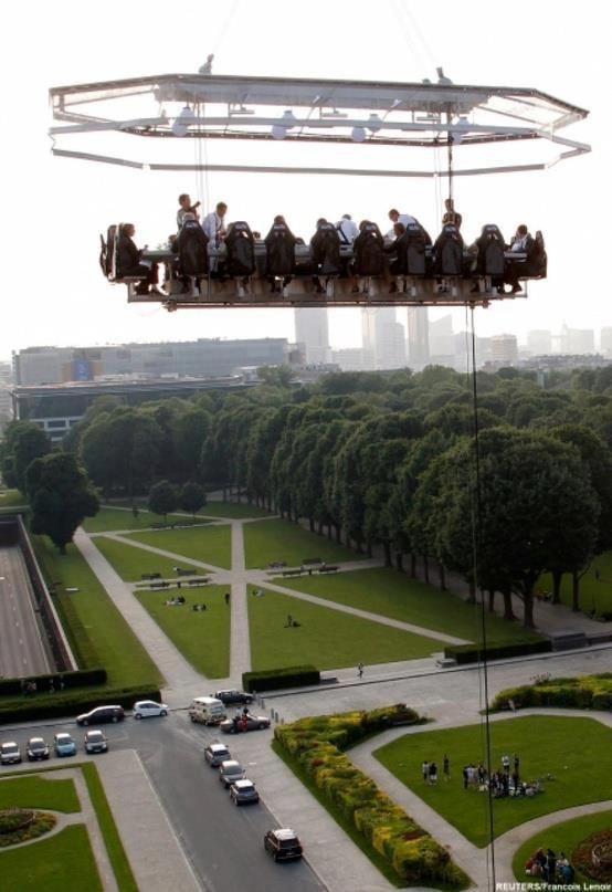 Dinner in the sky in Brussels, Belgium