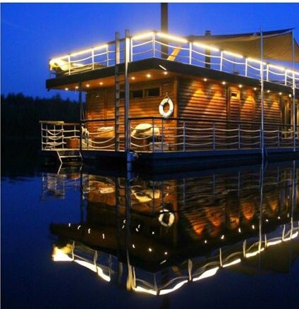 Lights On Floating Sauna Looks Great!