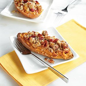 Twice-Baked Sweet Potato Boats with Bacon-Pecan Topping   CookingLight.com