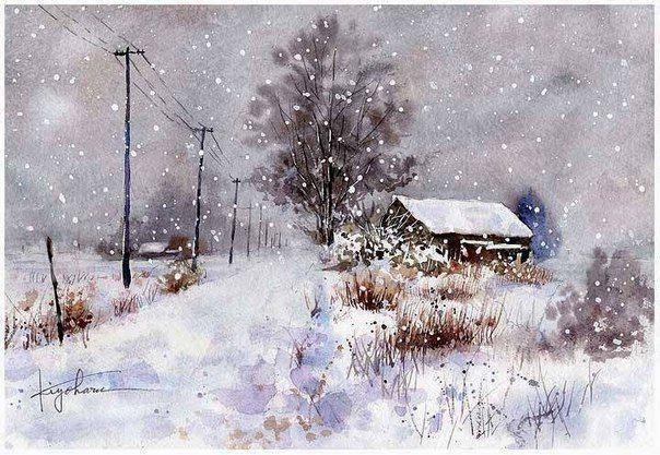 """Великолепные акварельные пейзажи """"Зима в Деревне"""""""
