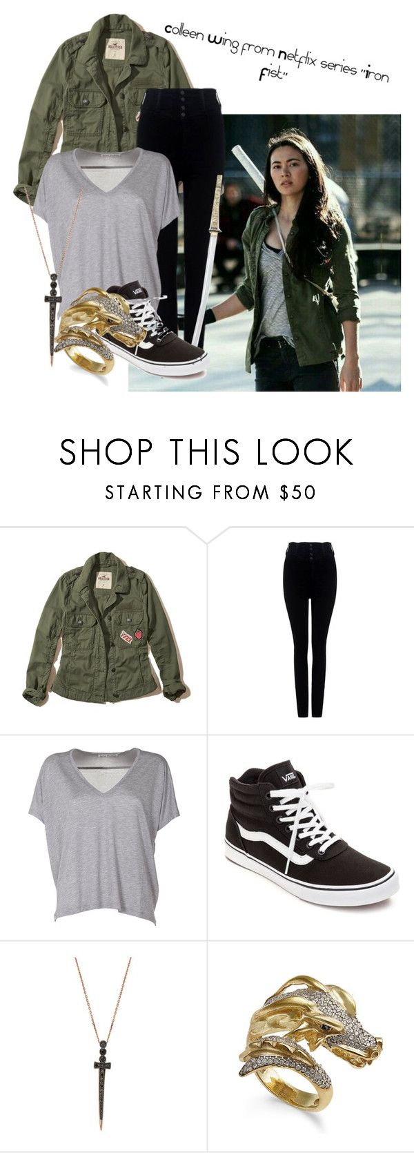 """""""Colleen Wing- Iron Fist series"""" by claudialogan ❤ liked on Polyvore featuring Hollister Co., Citizens of Humanity, Acne Studios, Vans and Bee Goddess"""