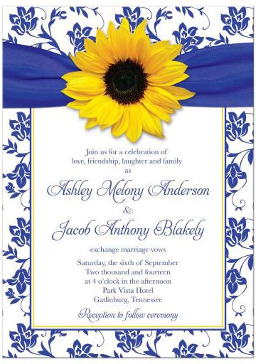 Sunflower royal blue yellow wedding invitation with damask floral pattern and ribbon. Perfect for blue and yellow weddings.
