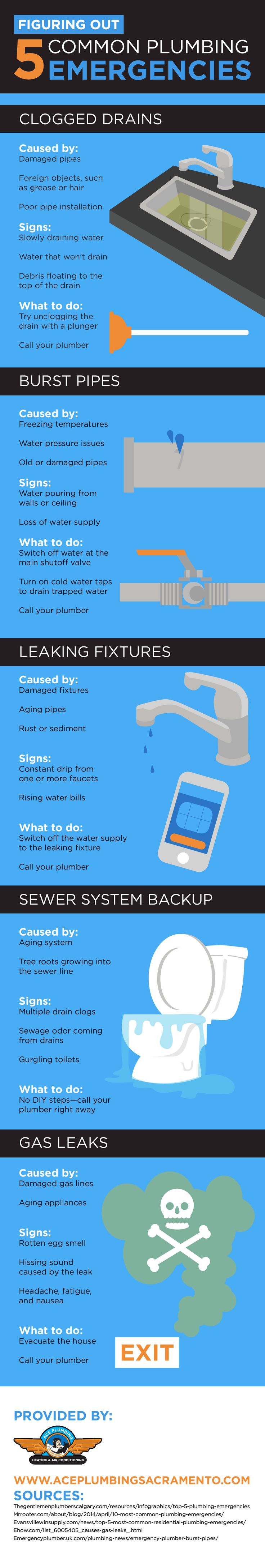 A clogged drain is one of the easier plumbing problems to fix, and you usually just need a quality plunger! Learn about some common plumbing emergencies by reading this infographic.