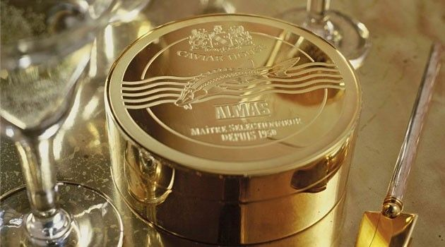Alams Caviar $25,000 - Extremely rare food item from iran. Packaged in a tin made of 24 karat gold.  Selling price is $25,000 for 1 kilo.  If you want just a taste of it, then a smaller tin is sold for $1,250.