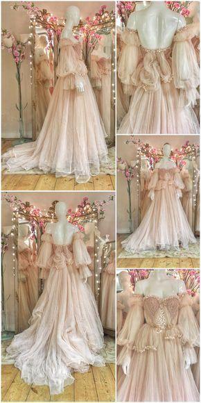 Robe de mariée de conte de fées romantique en tulle blush par Joanne ...