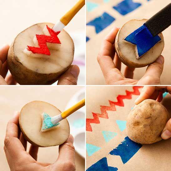 DIY Potato Stamp Gift Wrap For Kids