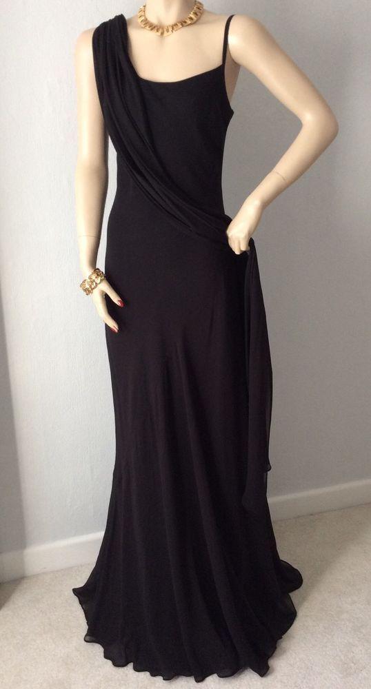 MARIA GRACHVOGEL LONG BLACK SILK EVENING DRESS ART DECO HOLLYWOOD DIVA INSPIRED  | eBay